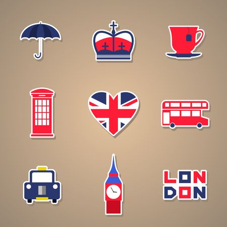 london tower bridge: London Icons set Stickers. Vector illustration