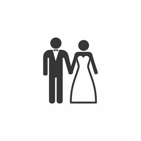 결혼식 결혼 커플 아이콘입니다. 신부와 신랑