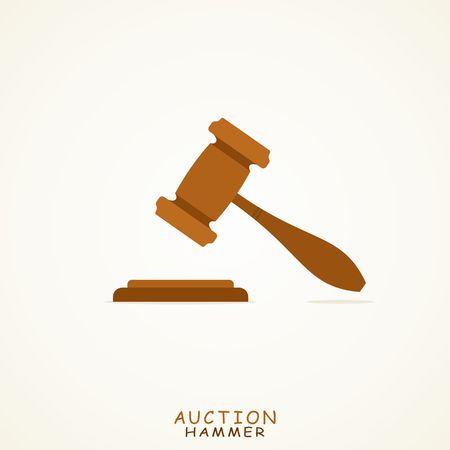arbitrate: Judge or Auction Hammer icon in Flat style. Vector Illustration.
