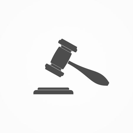 auction: Judge or Auction Hammer icon. Vector Illustration