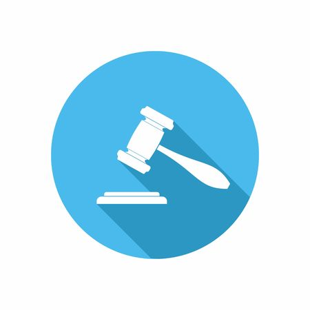 martillo juez: El juez o el icono del martillo de la subasta. Ilustración vectorial