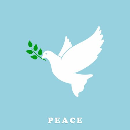 symbols of peace: Peace Dove with Olive branch. Vector Illustration