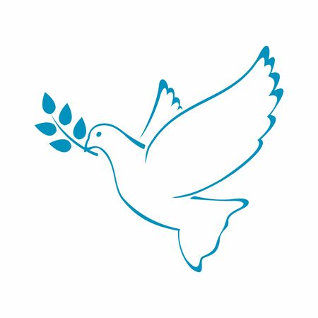 branch isolated: Peace Dove with Olive branch. Vector Illustration