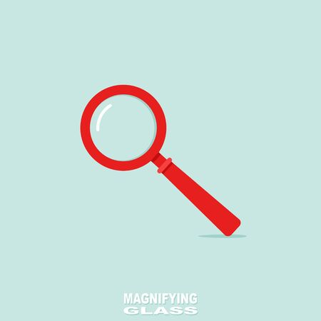 loupe: Red Magnifying Glass or Loupe. Vector Illustration.