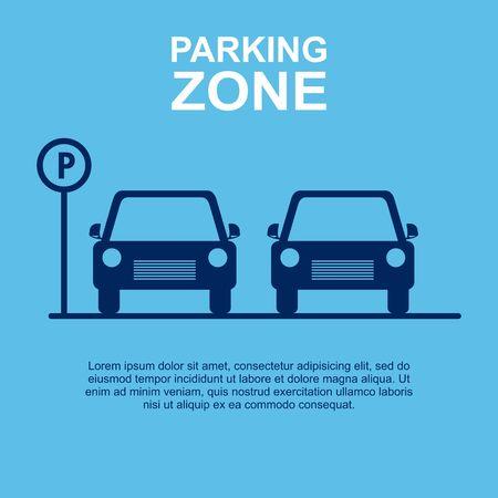 Parkeerzone blauwe achtergrond. Vector illustratie