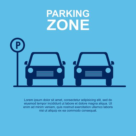 rules of road: Parking Zone blue background. Vector Illustration Illustration