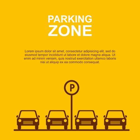 駐車場ゾーン黄色背景ベクトル図です。