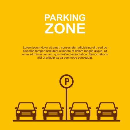 rules of road: Parking Zone yellow background Vector Illustration.