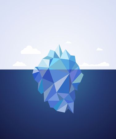 One Blue Iceberg on water. Vector illustration