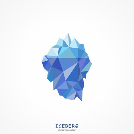 ice: One Blue Iceberg on a white background. Vector illustration