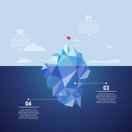 change business: Iceberg on water infographic template. Vector illustration