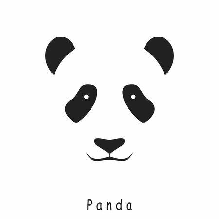 siluetas de animales: Panda Jefe del icono del vector sobre un fondo blanco
