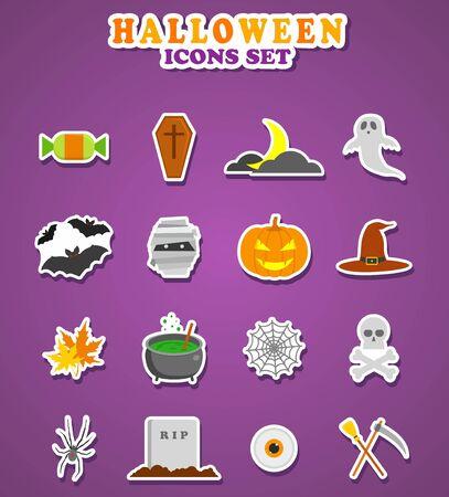Halloween icons. Stickers Illustration Flat design