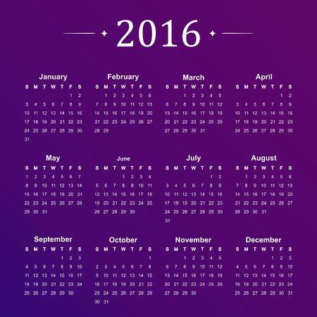 purple: Calendar for 2016 on purple background. Vector Illustration.