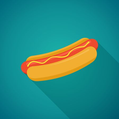 Hot Dog with shadow in flat style. Vector Illustration Иллюстрация