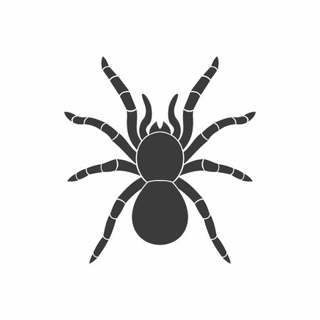 halloween scary: Silhouette Black Spider Icon in flat style. Vector Illustration