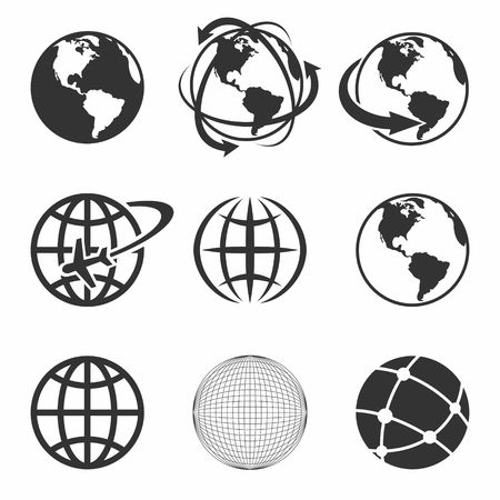 map of the world: Globe Earth black Icons Set. Vector Illustration.