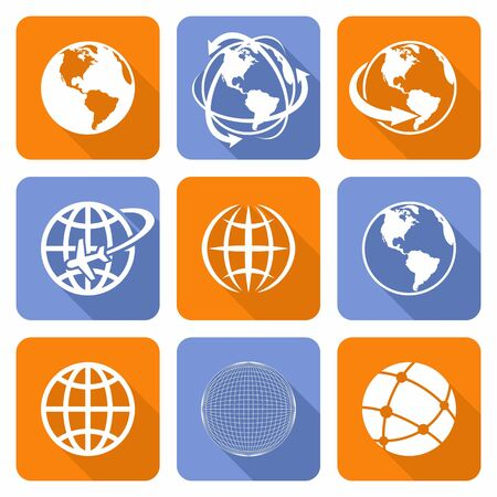 map of the world: Globe Earth orange and blue Icons Set.