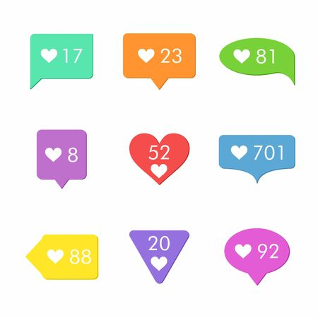 feedback icon: Like Counter Notification Icons Set. Flat Desing Style. Illustration