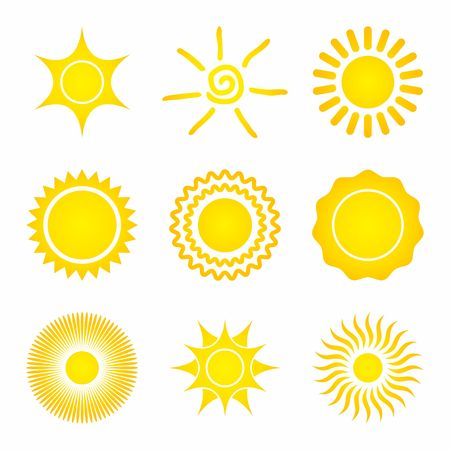 the sun: Set of Sun Icons on a white background.