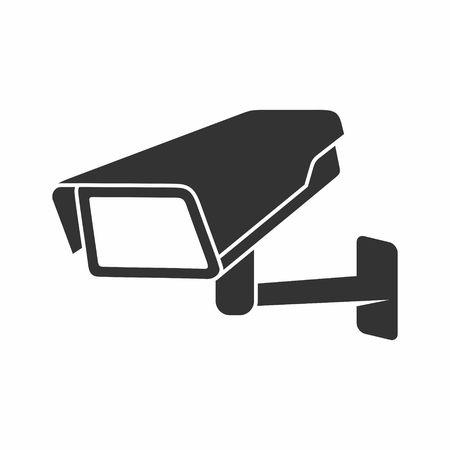 白い背景の上のビデオ監視セキュリティ カメラ。