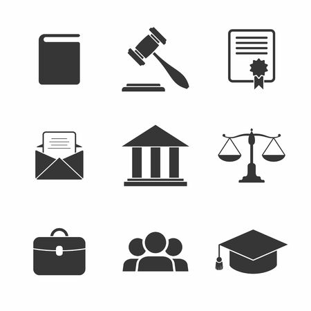 court judge: Set of black Law and Justice Icons. Vector Illustration.