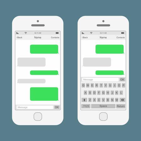 Smartphone im Chat SMS-Nachrichten Sprechblasen. Vektor-Illustration