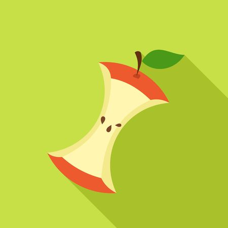 half of apple: Apple Core in Flat style with shadow on green background. Vector Illustration