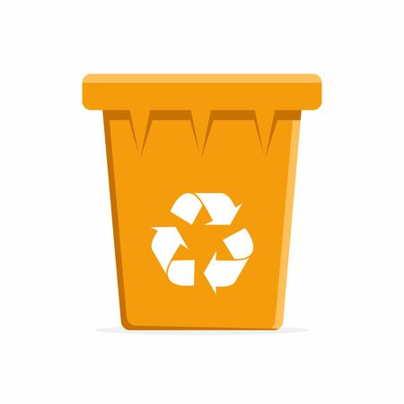 Vector Orange Recycle Bin for Trash and Garbage. Vector Illustration Çizim