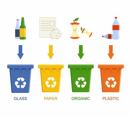 segregation: Separation recycling bins. Waste segregation management concept. Vector Illustration