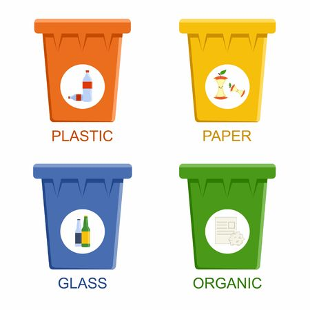 glass recycling: Separation recycling bins. Waste segregation management concept. Vector Illustration