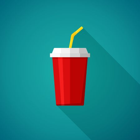 glass cup: Cola and Soda. Cup for fast food. Drink icon Vector Illustration Illustration