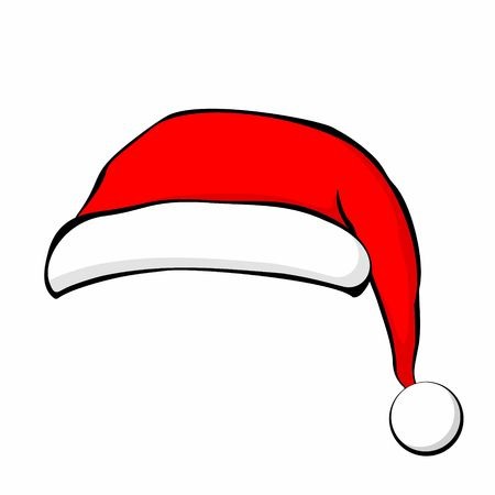 Santa Claus hat in flat style. Illustration. Çizim