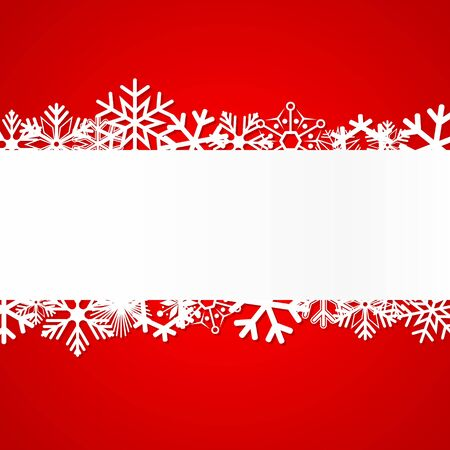 december background: Red Christmas background with snowflakes. Illustration