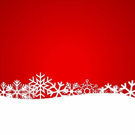 Red Christmas achtergrond met sneeuwvlokken. Illustratie