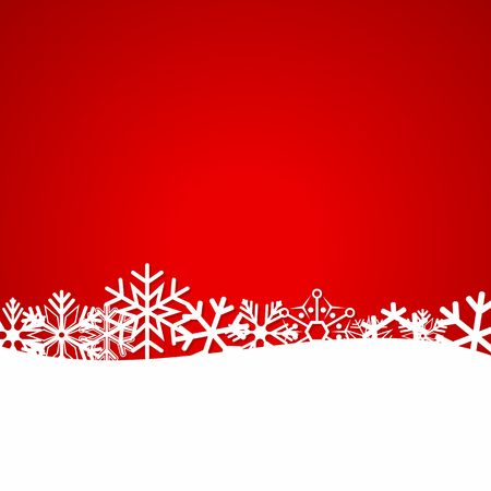seasons greeting card: Red Christmas background with snowflakes. Illustration