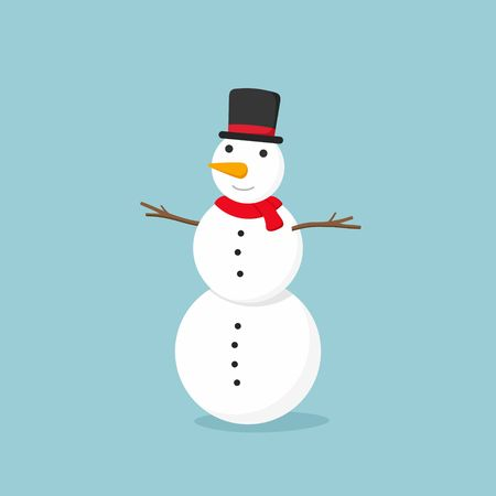 White Snowman on blue background. illustration. Vectores