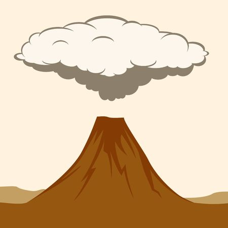 Volcanic eruption with clouds of smoke. Illustratiom