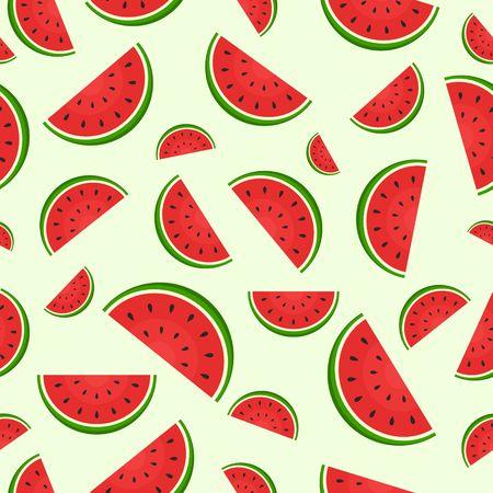 Seamless pattern with juicy fresh Watermelon. Illustration