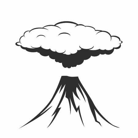 Volcanic eruption with clouds of smoke. Illustration