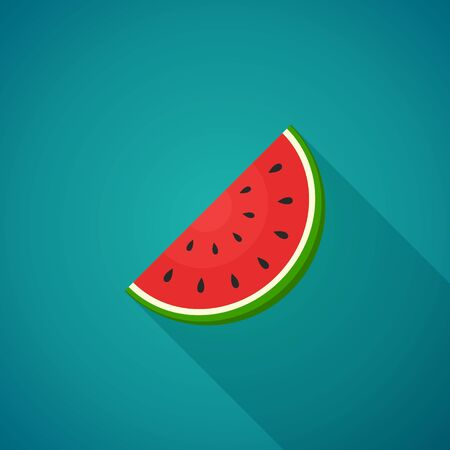 watermelon slice: Watermelon with shadow on white background. Illustration