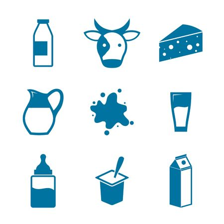 milk products: Blue Milk Icons on white background. Illustration