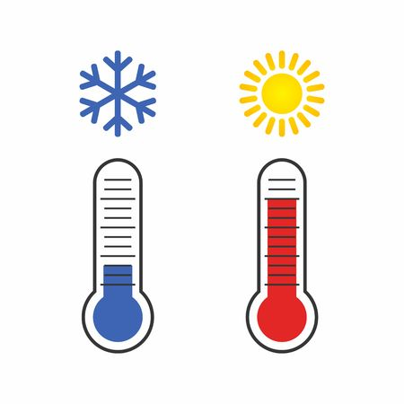 Thermometer measuring Heat and Cold, with Sun, Snowflake icons. illustration
