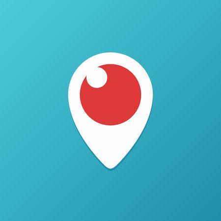 periscope: Periscope Icon on blue background. Illustration