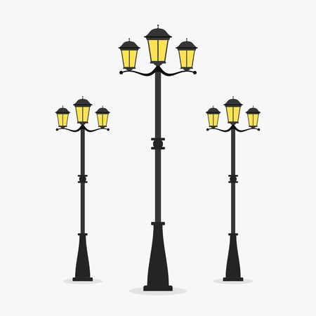Street Lamp post on gray background.