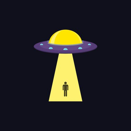 cartoon alien: UFO Flying Saucer kidnapping a man. Abducting human.  Illustration
