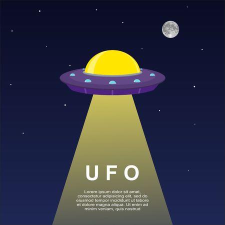 Abstracte ruimte achtergrond met UFO ruimteschip. Stock Illustratie