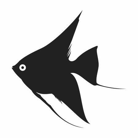 guppy: Black aquarium Fish silhouettes isolated on white background Illustration