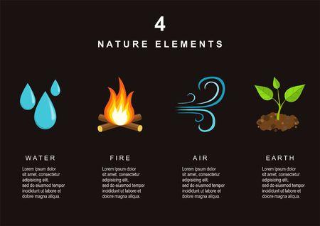 Natuurlijke elementen - water, vuur, lucht en aarde. Infographics elementen. Stock Illustratie