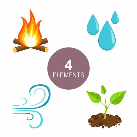 Léments naturels - Feu, eau, air et terre. Banque d'images - 51036030